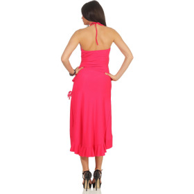 Jela London Vokuhila Tanzkleid Latin Salsa Rock Wickeloptik, Pink-Fuchsia