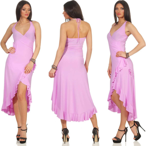 Jela London Vokuhila Tanzkleid Latin Salsa Rock Wickeloptik, Violett