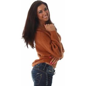 Weicher Feinstrick Flügelärmel-Pullover Sweater kurz, Ocker