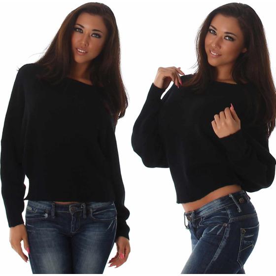 Weicher Feinstrick Flügelärmel-Pullover Sweater kurz, Schwarz