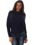 Weicher Feinstrick Flügelärmel-Pullover Sweater kurz, Marine