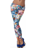 Stoff-Leggings Print Blume Blau-Bunt, 34-40 ML