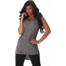 Voyelles Damen Long-Top Long-Shirt Feinstrick Ripp, Grau 40