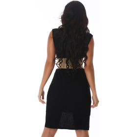 Voyelles Damen Long-Top Long-Shirt Feinstrick Ripp, Schwarz 36