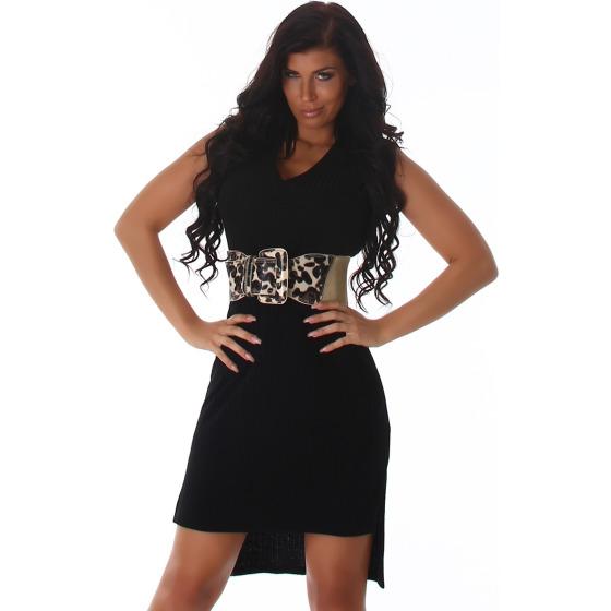 Voyelles Damen Long-Top Long-Shirt Feinstrick Ripp, Schwarz 38