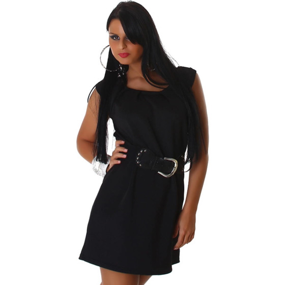 Jela London Cocktailkleid Stretch Midi Raffung & Gürtel, Schwarz 34-38