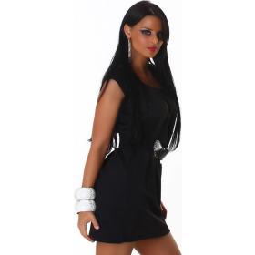 Jela London Cocktailkleid Stretch Midi Raffung & Gürtel, Schwarz 34-38