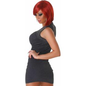 Panacher Strickkleid Stretch Minikleid Perlen-Applikation, Dunkel-Grau 36 38