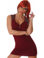 Panacher Strickkleid Stretch Minikleid Perlen-Applikation, Herbst-Rot 36 38