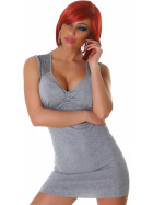 Panacher Strickkleid Stretch Minikleid Perlen-Applikation, Grau 36 38