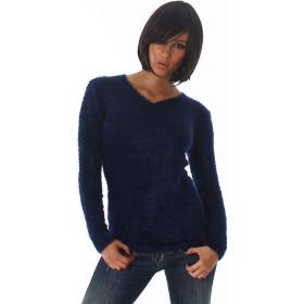 Luxestar Damen Kuschel Pullover Fransen Feinstrick Navy Blau SM