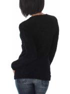 Luxestar Damen Kuschel Pullover Fransen Feinstrick Schwarz SM