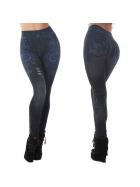 """Jeans-Look Leggings Jeggings Hoher Bund Print """"Blaue Blumen"""""""