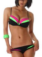 Push-Up Plunge Bikini-SLIP mit Farbspiel Neongrün 38/40 (48/DE 42)