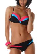 Push-Up Plunge Bikini-BH mit Farbspiel Türkis 80 C (48/DE 42)
