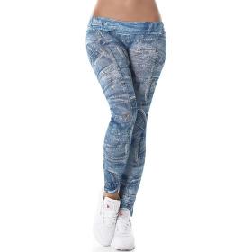 7/8 Capri Print-Leggings Jeans-Look Jeggings, Blau