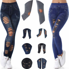 SL1 High-Waist Jeans Jeggings Risse Löcher...