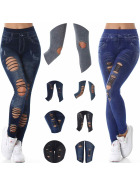 SL1 High-Waist Jeans Jeggings Risse Löcher Destroyed-Style Stretch (34/36/38)