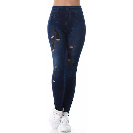 Jeans-Look Leggings Jeggings Hoher Bund Print, (3) Dunkelblau