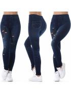 Jeans-Look Leggings Jeggings Hoher Bund Print, (3) Dunkelblau