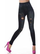 Jeans-Look Leggings Jeggings Hoher Bund Print, (7) Schwarz