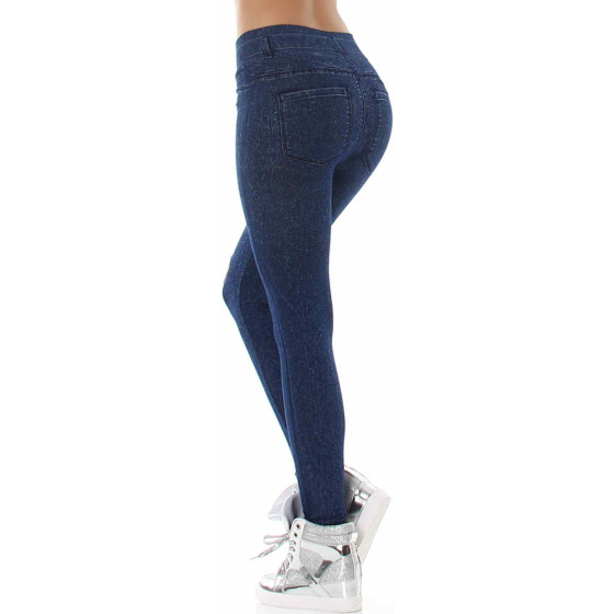 Jeans-Look Leggings Jeggings Hoher Bund Print, (8) Blau