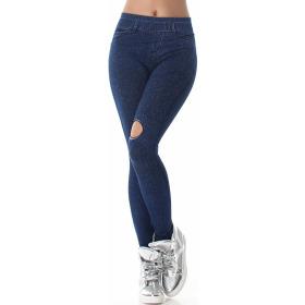 Jeans-Look Leggings Jeggings Hoher Bund Print, (8) Blau
