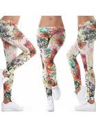 Damen Dünne Stoff Leggings Motiv bedruckt Print, Power Flower