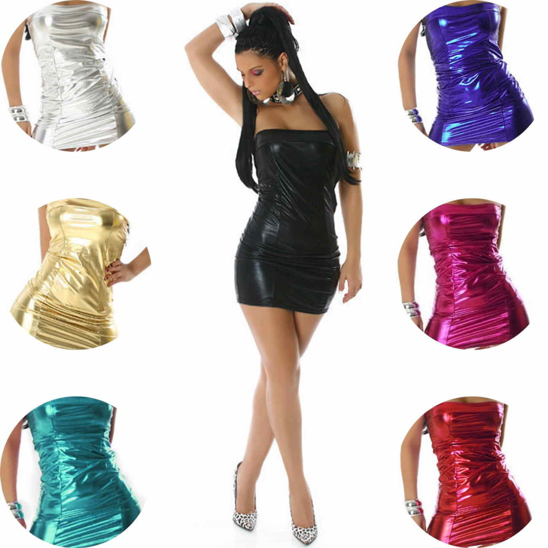 9fa0adddda19fa Jela London Damen Wetlook Bandeau Minikleid GoGo Glanz Metallic (34-38)