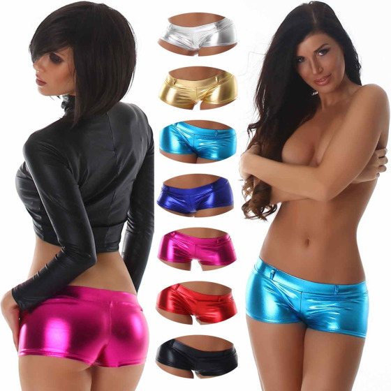 Jela London Damen Glossy Wetlook GoGo Hotpants metallic (32-36)