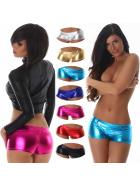Jela London Damen Glossy Wetlook GoGo Hotpants metallic (32-36)
