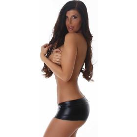 Jela London Wetlook GoGo Hotpants Shorts kurz Glanz metallic, Schwarz S (34/36)