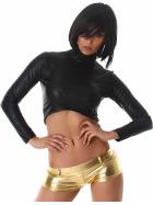 Jela London Wetlook GoGo Hotpants Shorts kurz Glanz metallic, Gold S (34/36)
