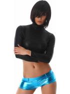Jela London Wetlook GoGo Hotpants Shorts kurz Glanz metallic, Türkis S (34/36)