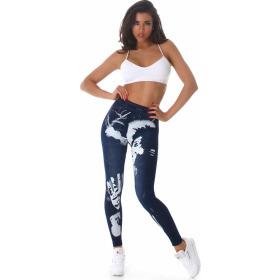 SL1 High-Waist Jeggings Leggings Jeans-Look Farbklecks, Hand