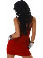 Jela London Peplum Bandeau Kleid Schößchen Mini Cocktail, Rot 32/34