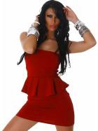 Jela London Peplum Bandeau Kleid Schößchen Mini Cocktail, Rot 34/36
