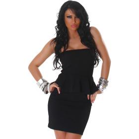 Jela London Peplum Bandeau Kleid Schößchen Mini Cocktail, Schwarz 32/34