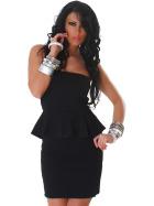 Jela London Peplum Bandeau Kleid Schößchen Mini Cocktail, Schwarz 34/36