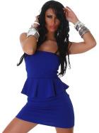 Jela London Peplum Bandeau Kleid Schößchen Mini Cocktail, Blau 32/34