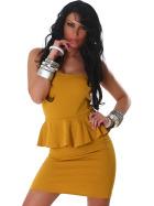 Jela London Peplum Bandeau Kleid Schößchen Mini Cocktail, Ocker 32/34
