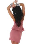 Jela London Peplum Bandeau Kleid Schößchen Mini Cocktail, Rosa 32/34