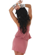 Jela London Peplum Bandeau Kleid Schößchen Mini Cocktail, Rosa 34/36