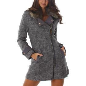 Voyelles Damen taillierter, modischer Mantel mit Fellkragen