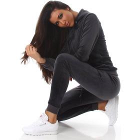 Jela London Damen Velours Jogginganzug Nicki Hausanzug, Dunkel-Grau S