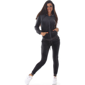 Jela London Damen Velours Jogginganzug Nicki Hausanzug, Dunkel-Grau L