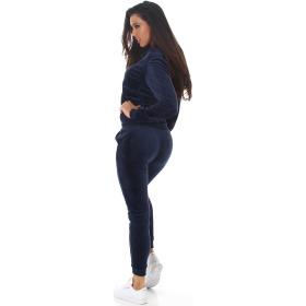 Jela London Damen Velours Jogginganzug Nicki Hausanzug, Dunkel-Blau S