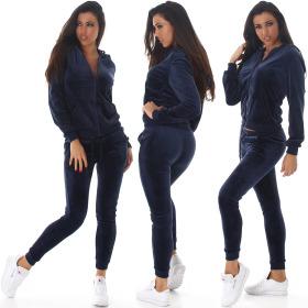 Jela London Damen Velours Jogginganzug Nicki Hausanzug, Dunkel-Blau M
