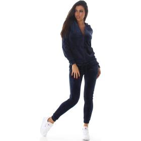 Jela London Damen Velours Jogginganzug Nicki Hausanzug, Dunkel-Blau L