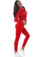 Jela London Damen Velours Jogginganzug Nicki Hausanzug, Rot S